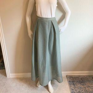SILVAIN HEACH Green Pleated Midi Mesh Skirt S NWT